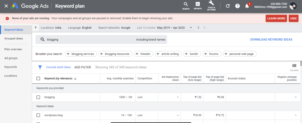 Google keyword planner for research
